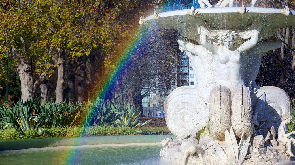 Carlton Gardens showing art, a garden and outdoor art