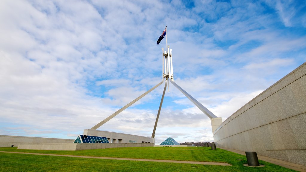 Parliament House showing an administrative buidling and modern architecture