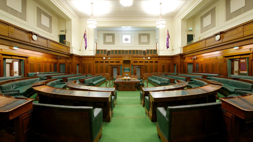 Old Parliament House showing an administrative buidling, interior views and heritage architecture