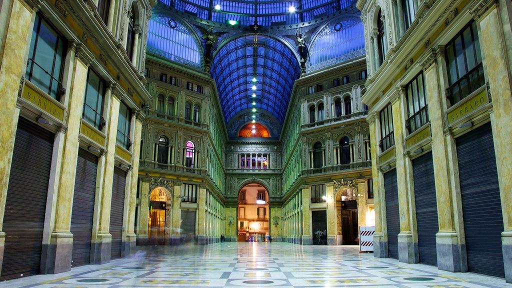 Galleria Umberto I showing interior views and night scenes