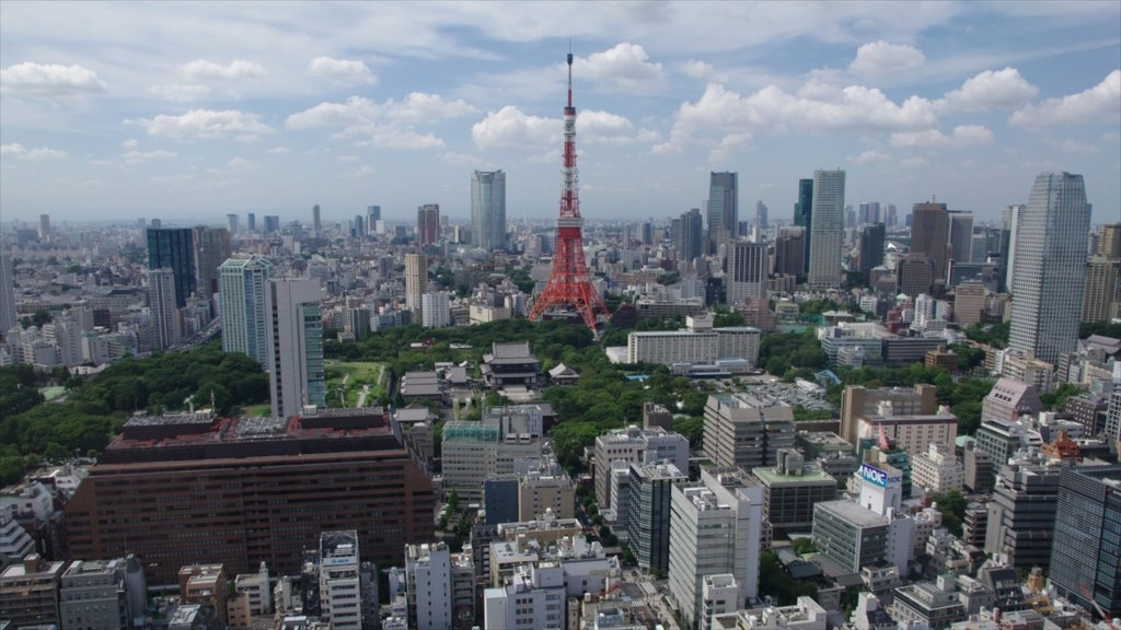 Tokyo Tower showing a city and city views