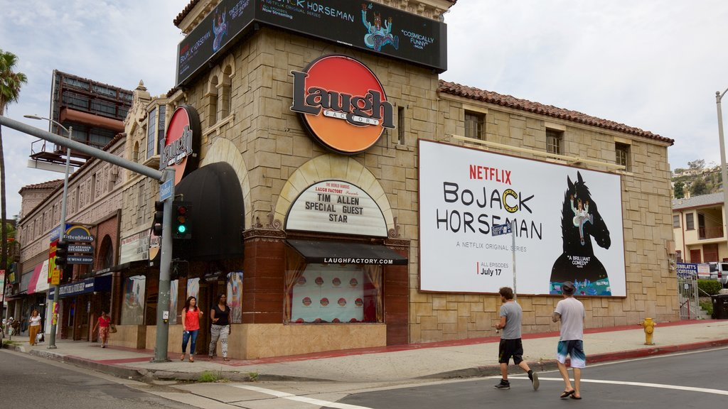 West Hollywood showing street scenes and signage