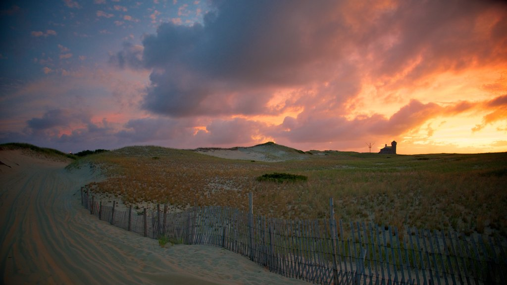 Race Point Beach which includes a sunset, tranquil scenes and landscape views