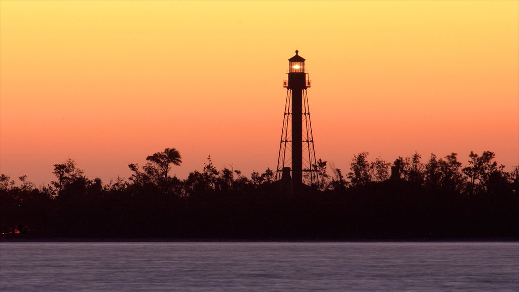 Sanibel Captiva Island which includes a lighthouse, a sunset and general coastal views