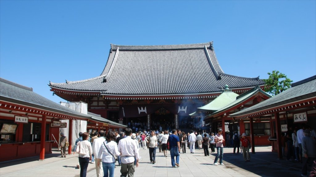 Sensoji Temple which includes a temple or place of worship and religious elements as well as a large group of people