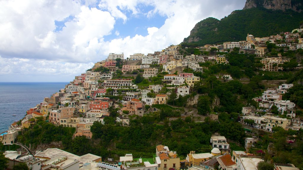 Positano featuring mountains, a coastal town and a city