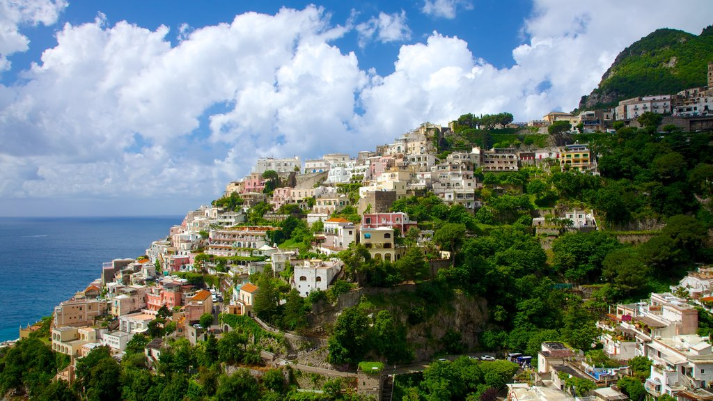 Positano which includes mountains, general coastal views and a coastal town