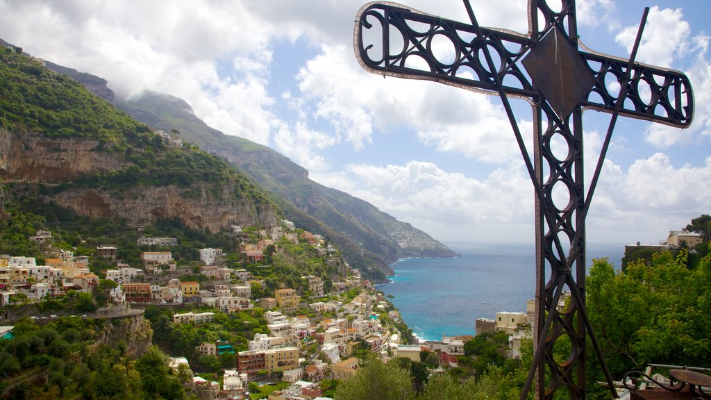 Positano which includes general coastal views, a coastal town and mountains
