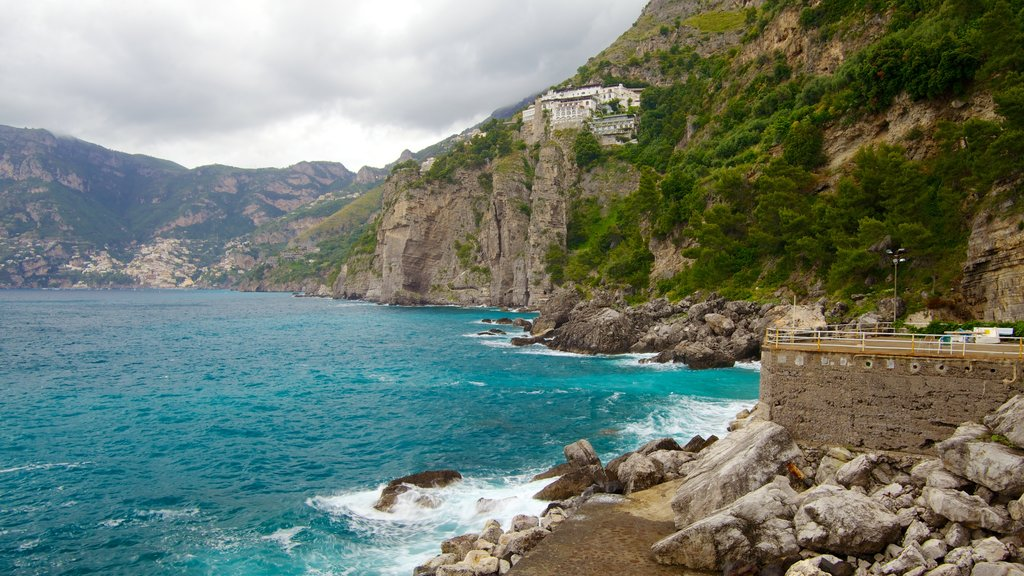 Praiano showing rugged coastline and mountains
