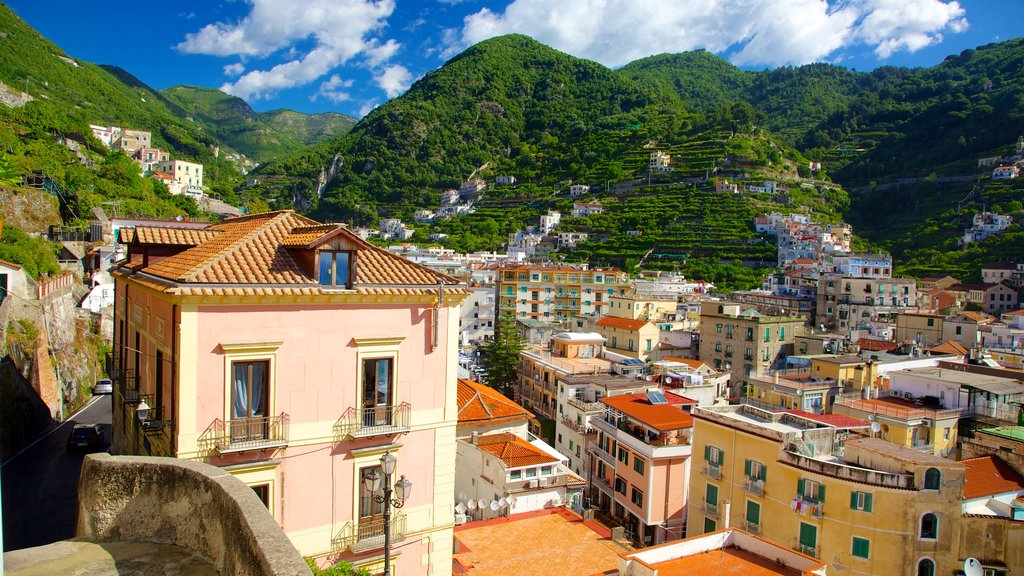 Minori showing mountains and a city