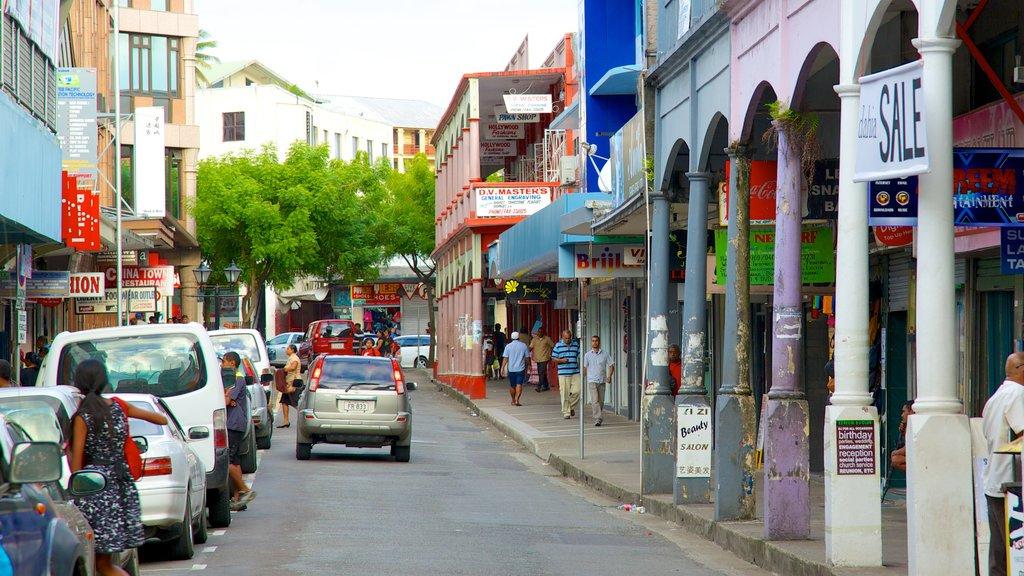 Suva featuring street scenes