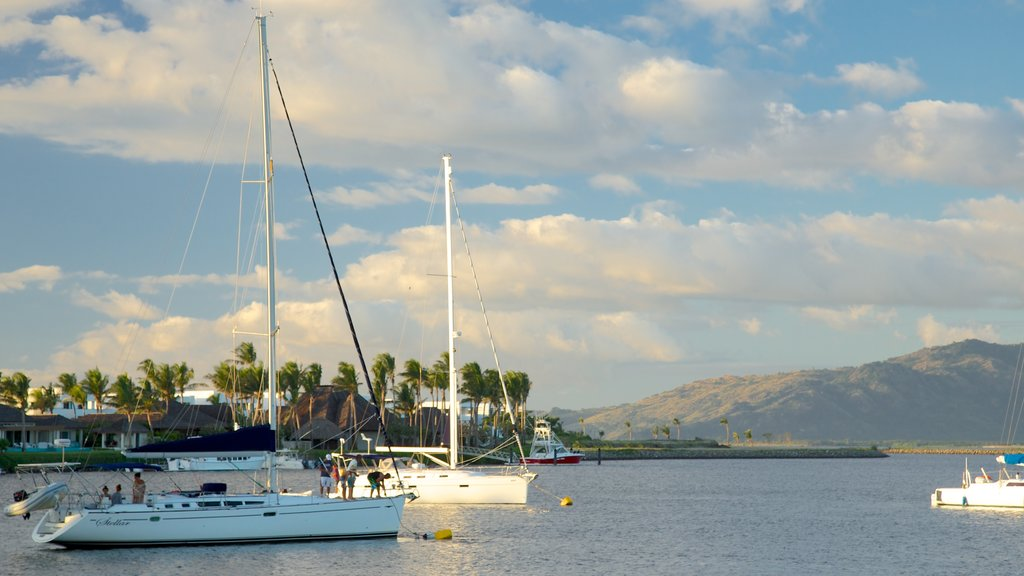 Port Denarau which includes boating, sailing and general coastal views