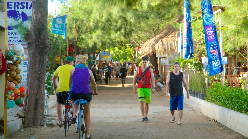 Gili Islands featuring street scenes, cycling and markets
