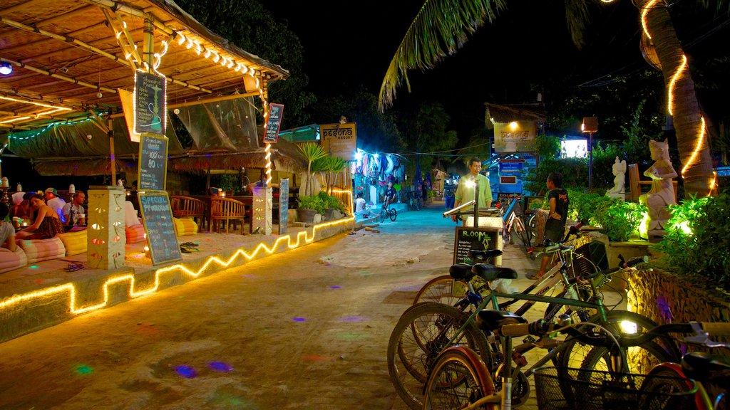 Gili Islands mostrando escenas urbanas, escenas nocturnas y vida nocturna