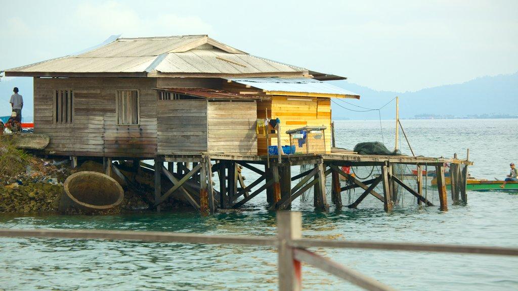 Tun Sakaran Marine Park which includes a coastal town and a house
