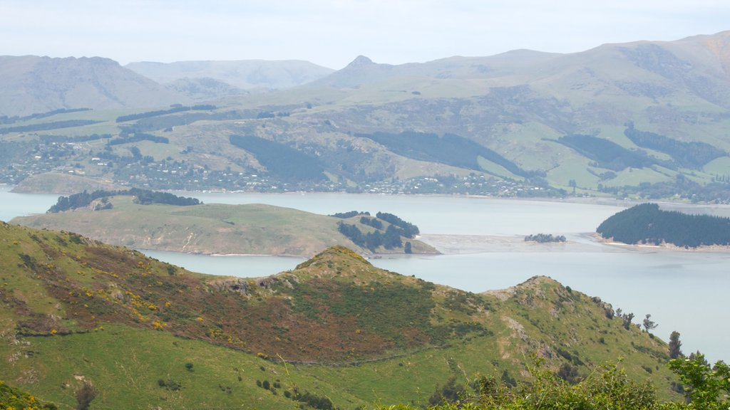 Lyttelton Harbour which includes mountains, landscape views and general coastal views