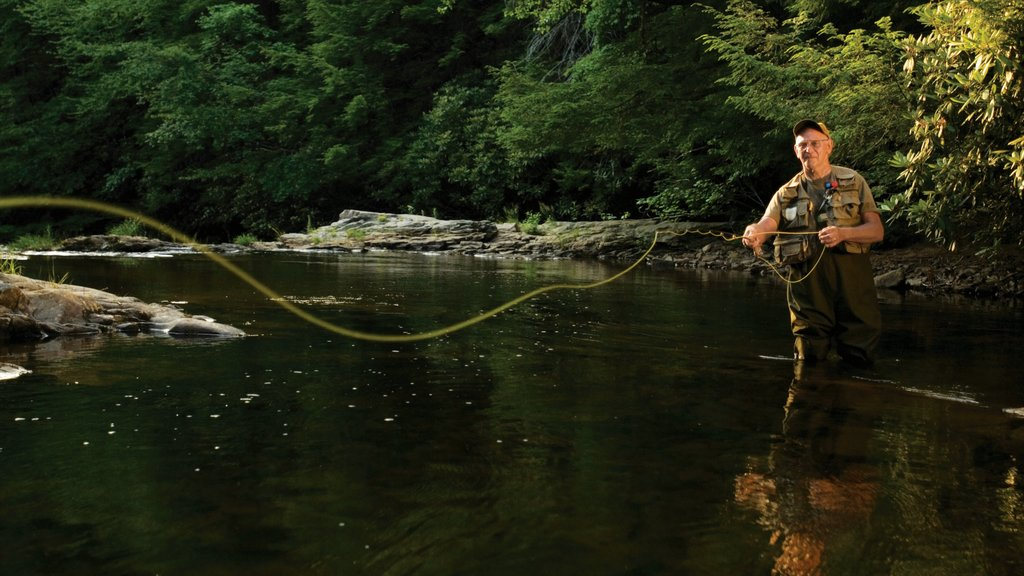 Pocono Mountains which includes fishing and a river or creek as well as an individual male