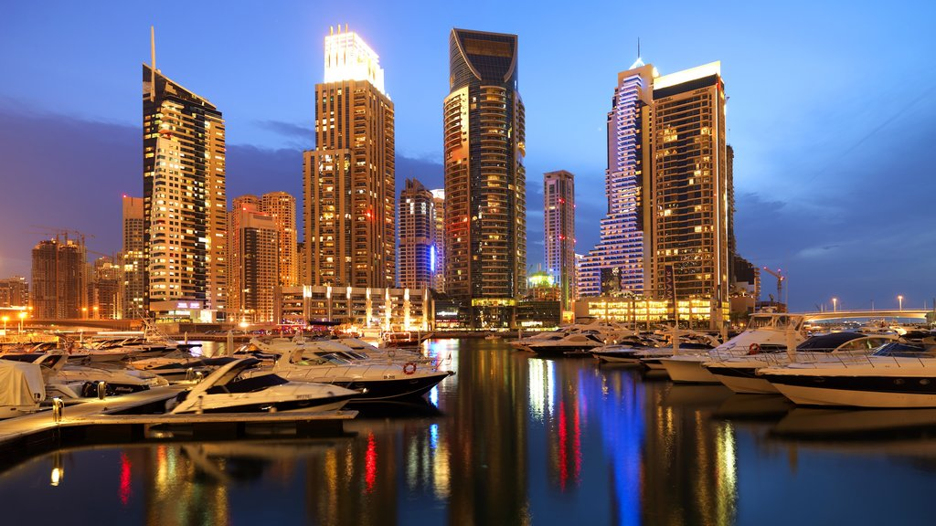 Dubai Marina featuring cbd, night scenes and boating