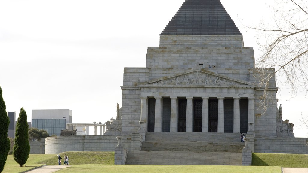 Shrine of Remembrance which includes a memorial and religious aspects
