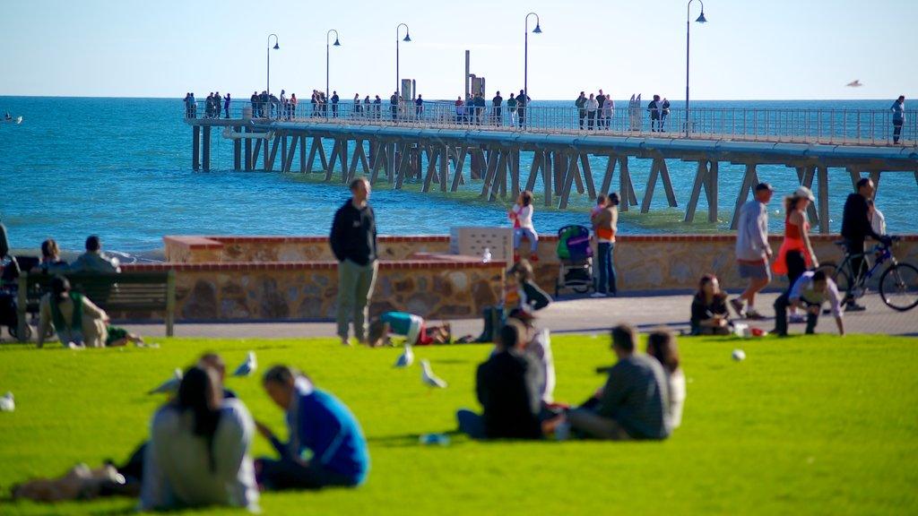 Glenelg Beach which includes general coastal views and a park as well as a large group of people