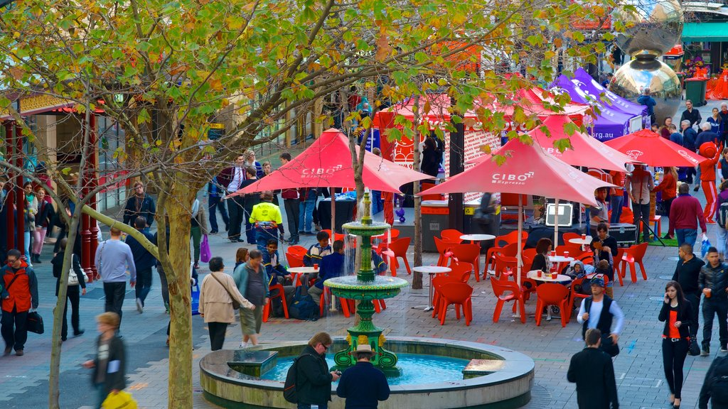 Rundle Mall featuring a city, outdoor eating and street scenes