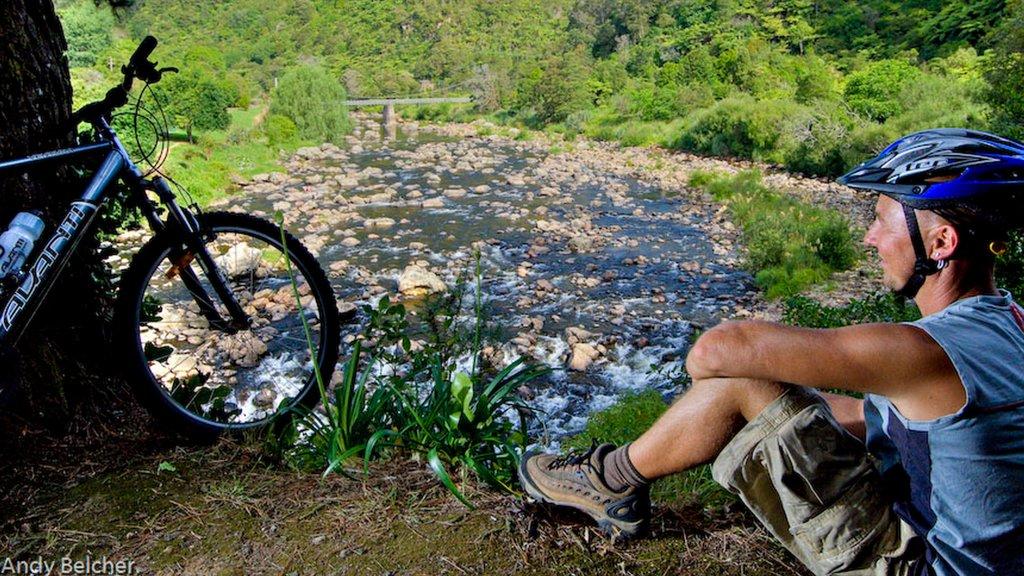 Karangahake Gorge showing mountain biking and a river or creek as well as an individual male
