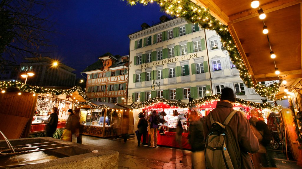 Lucerne featuring markets, night scenes and nightlife