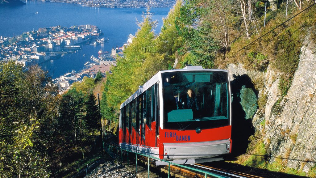 Floibanen Funicular featuring railway items