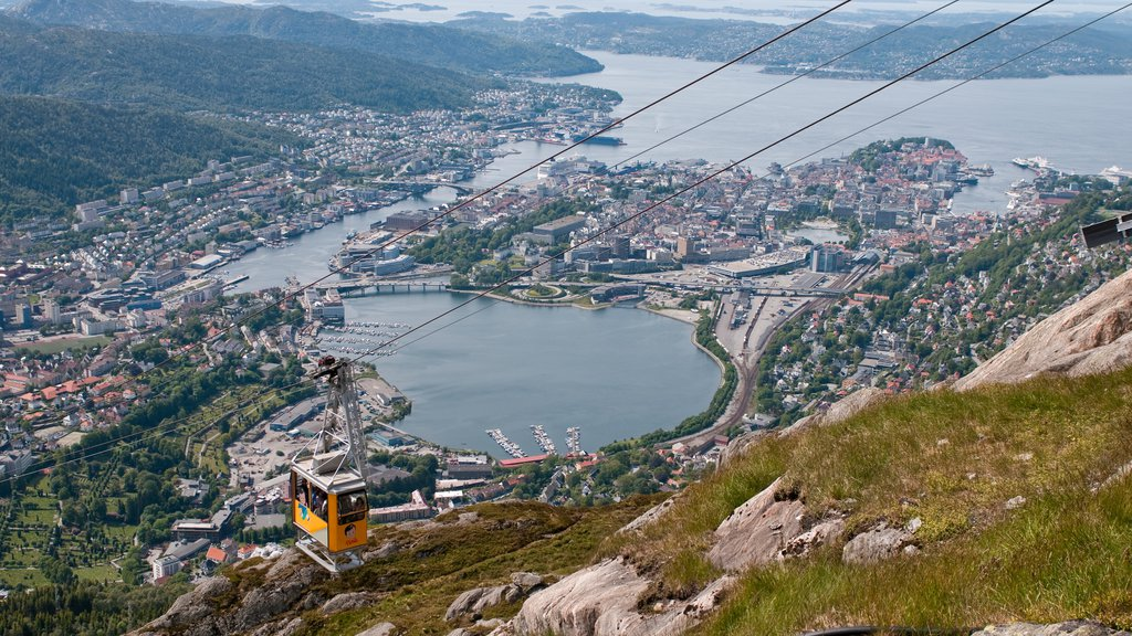 Ulriken Cable Car showing a small town or village, a gondola and a bay or harbor