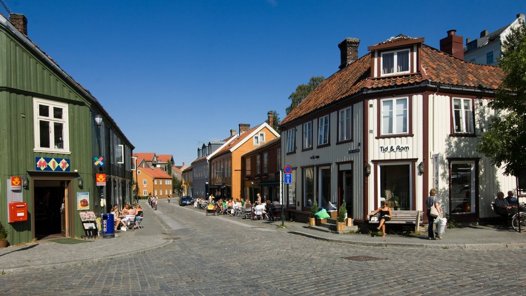 Trondheim featuring heritage architecture, street scenes and a small town or village