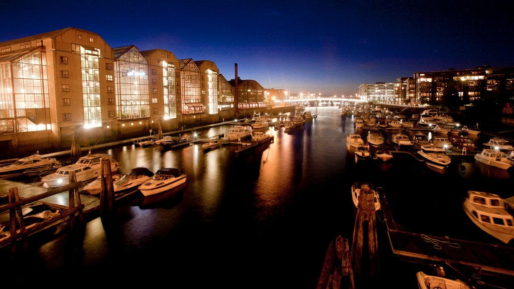 Trondheim which includes central business district, a coastal town and a bay or harbor