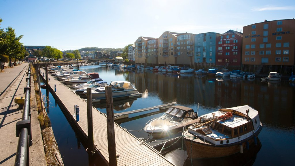 Trondheim featuring a bay or harbor, a coastal town and a marina
