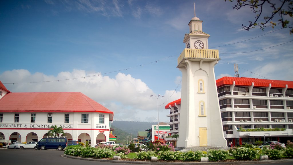 Apia which includes street scenes, flowers and a city