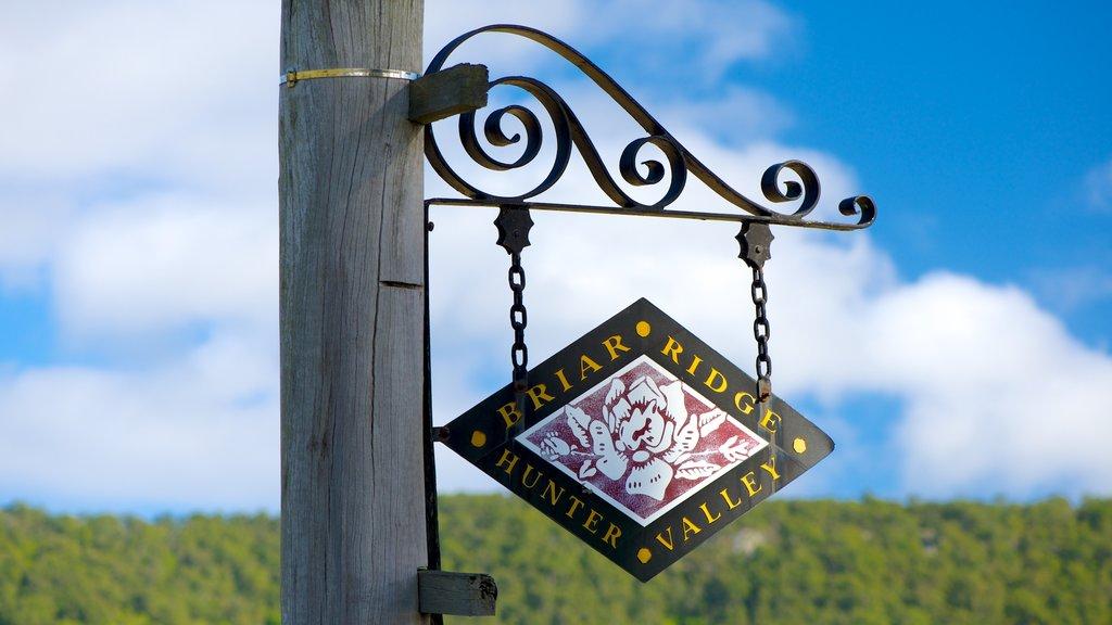Viñedo Briar Ridge mostrando señalización