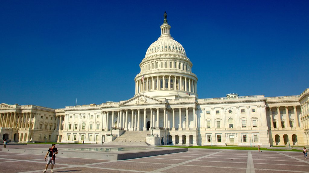 United States Capitol which includes a square or plaza, a city and an administrative buidling