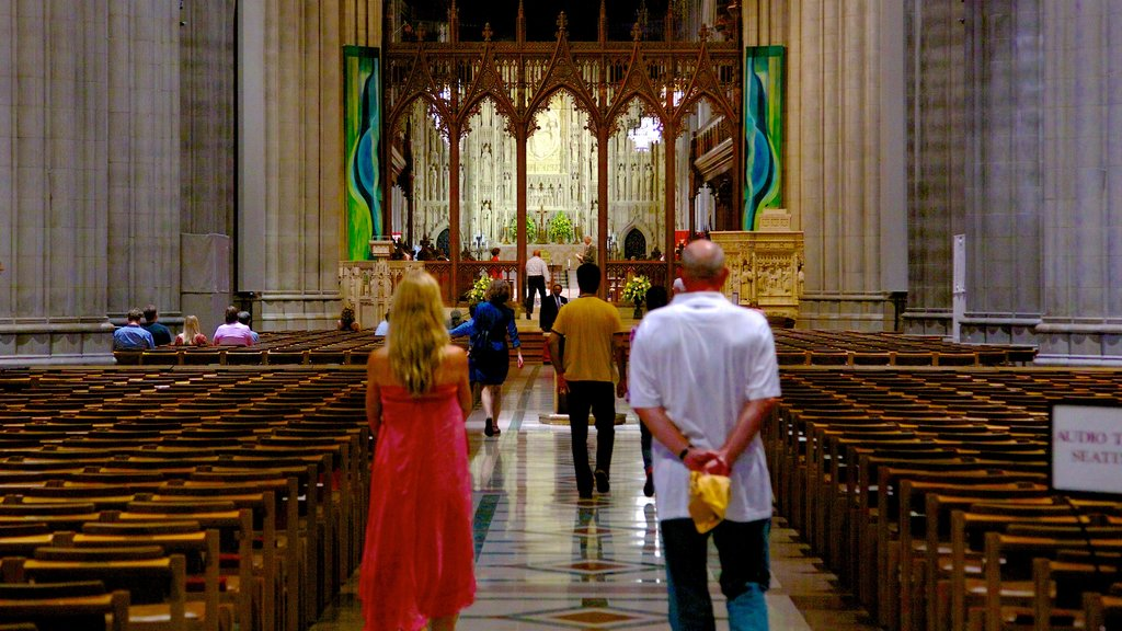 Washington National Cathedral showing a church or cathedral, interior views and religious aspects