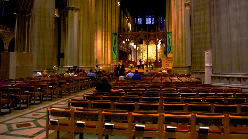 Washington National Cathedral which includes religious aspects, interior views and a church or cathedral