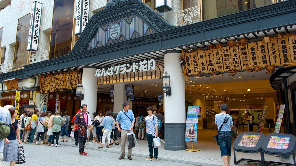 Namba Grand Kagetsu showing street scenes, shopping and a city
