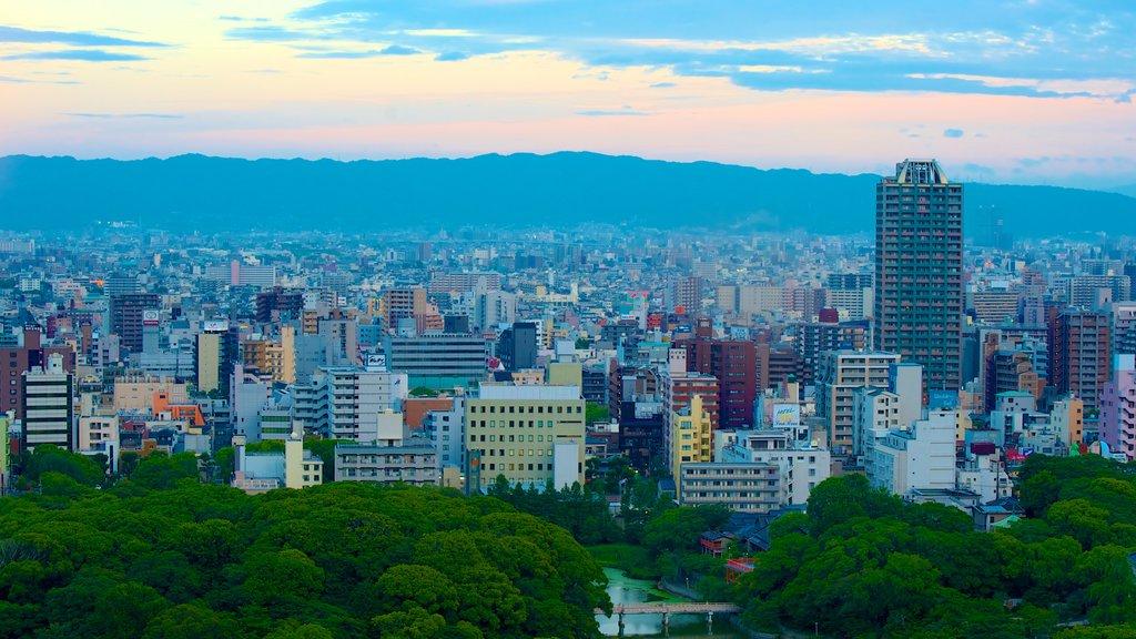 Tsutenkaku Tower showing landscape views and a city