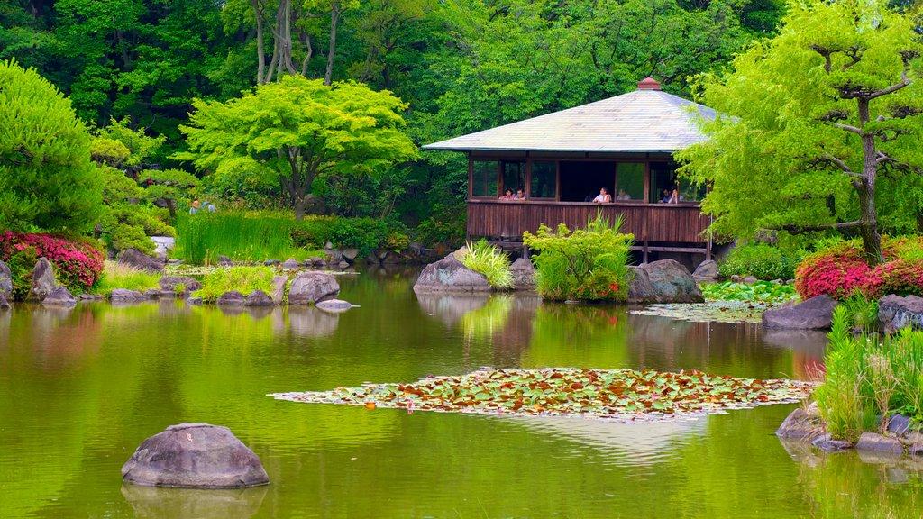 Tennoji Park showing a park and a pond