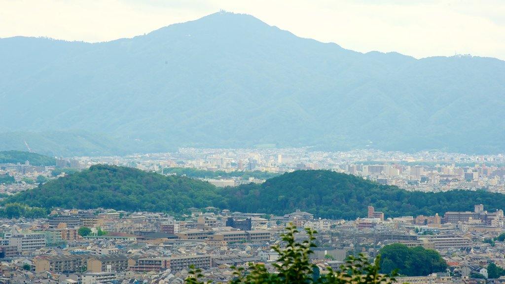 Arashiyama Monkey Park featuring a city and mountains