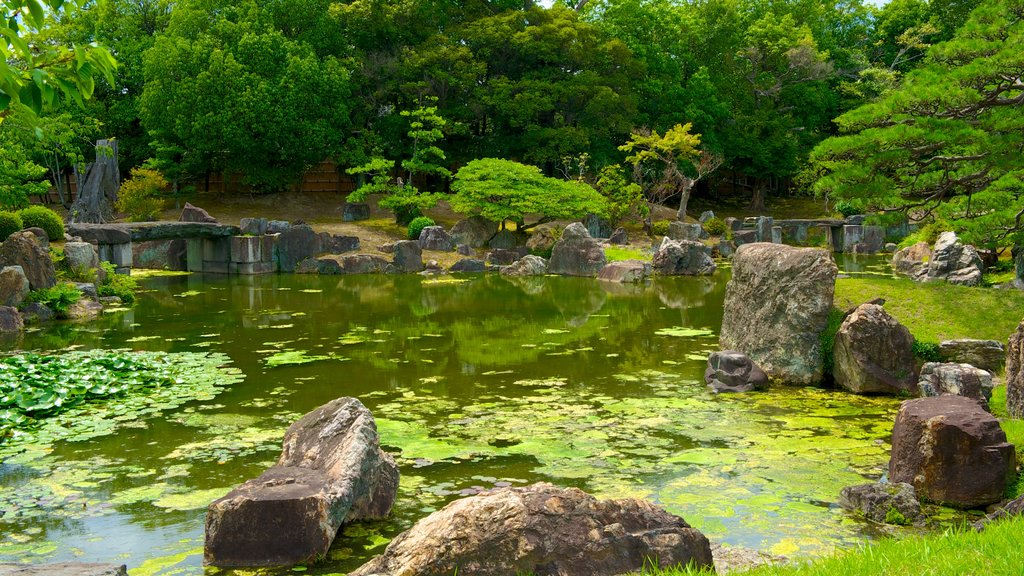 Nijo Castle showing a park and a pond