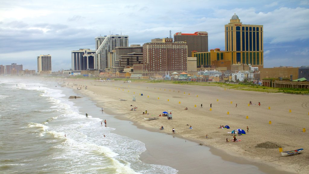 Atlantic City Boardwalk which includes swimming, a coastal town and a beach