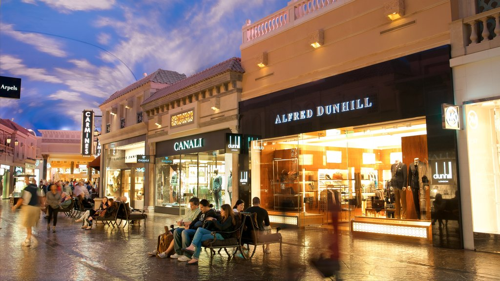 Las Vegas which includes signage, interior views and shopping