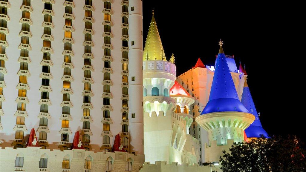 Excalibur Casino which includes night scenes and a castle