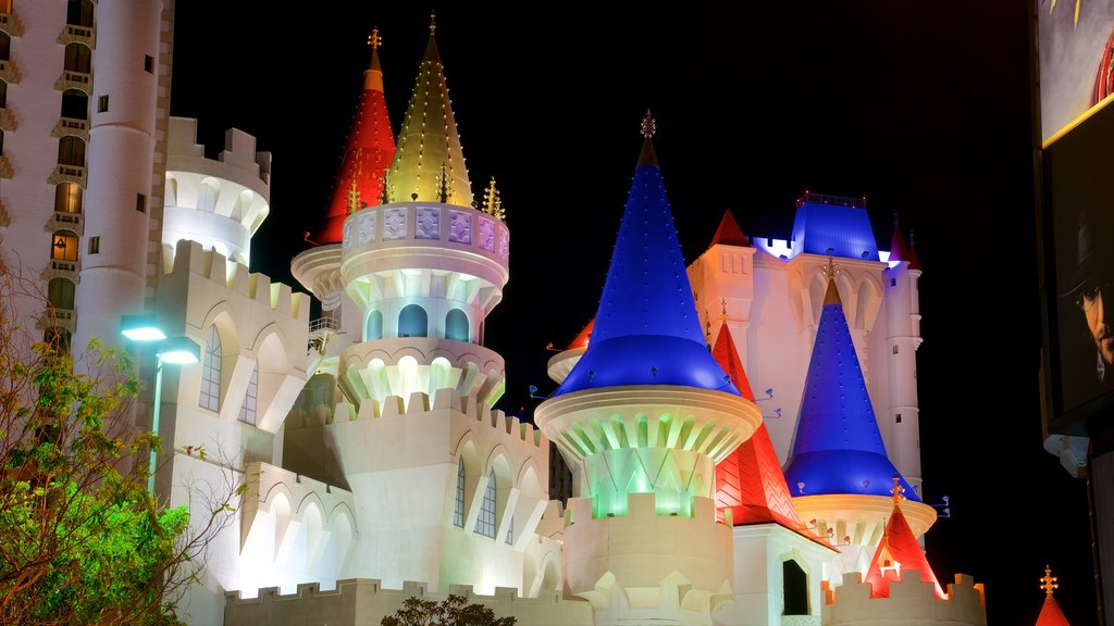 Excalibur Casino showing a castle and night scenes
