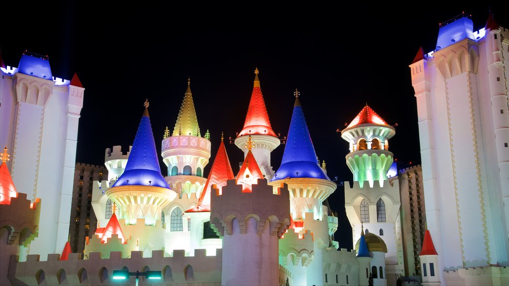 Excalibur Casino showing night scenes and a castle