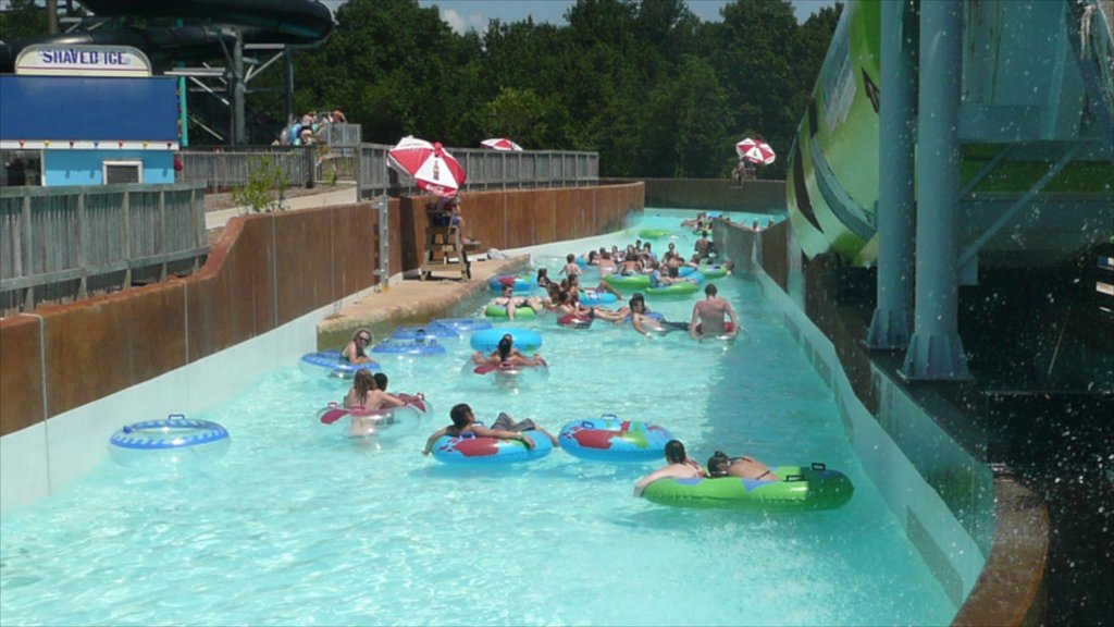 Kansas City Schlitterbahn Waterpark which includes rafting and a waterpark as well as a small group of people