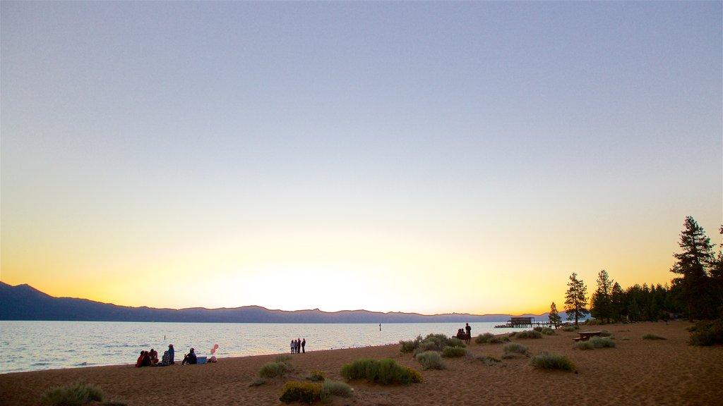 Nevada Beach which includes general coastal views, a sunset and a beach