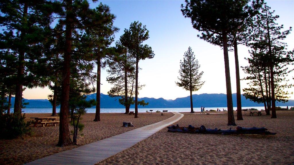 Nevada Beach which includes a sunset, a sandy beach and general coastal views